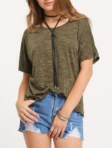 Army Green Short Sleeve Cold Strap Neck T-shirt