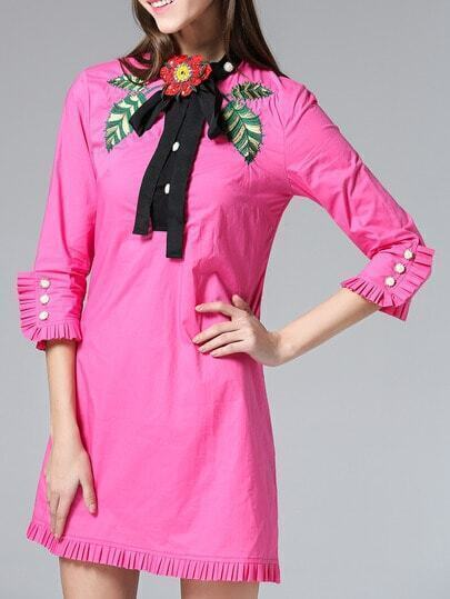 Hot Pink Tie Neck Embroidered Pleated Dress