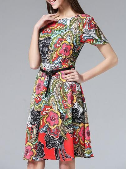 Multicolor Crew Neck Print Belted Dress