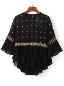 Black Crew Neck Embroidered Sheer Blouse