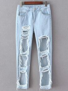 Light Blue Pockets Ripped Denim Pant