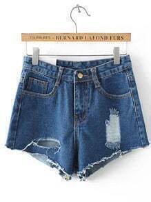 Navy Pockets Ripped Denim Shorts