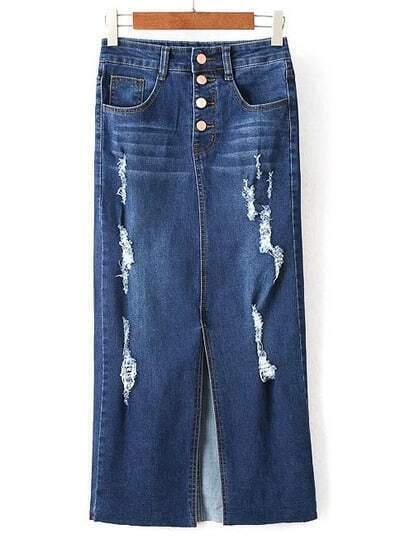 navy pockets ripped split denim skirt shein sheinside