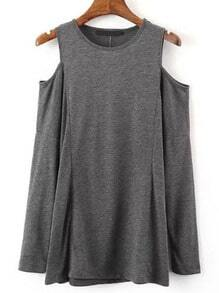Dark Grey Cold Shoulder Crew Neck T-Shirt