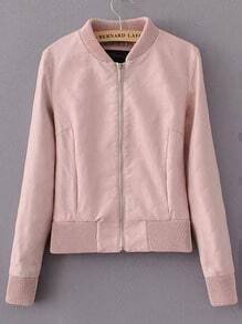 Pink Stand Collar Zipper Crop Jacket