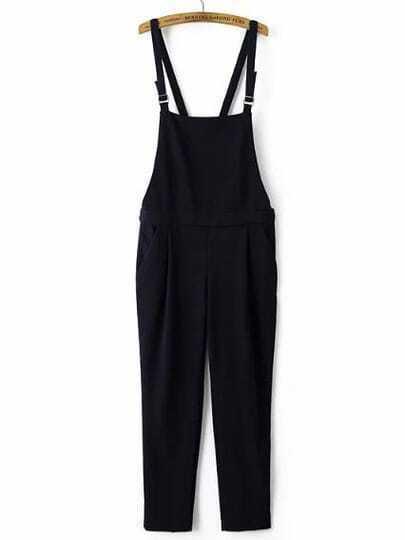 Navy Strap Pockets Jumpsuit