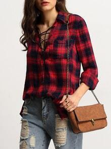 Red Check Chest Pocket Lace Up Blouse