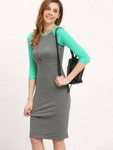 Grey Green Raglan Sleeve Midi Dress