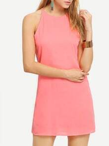 Pink Crew Neck Keyhole Back Chiffon Dress
