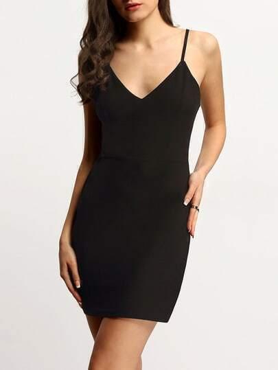 Black V Neck Cut Out Back Spaghetti Strap Bodycon Dress