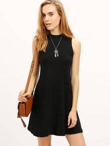Black Sleeveless Mock Neck Rib Dress