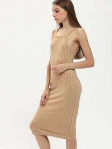 Apricot Rib Spaghetti Strap Sheath Dress