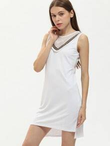 White Geommetric Hollow Embroidery Fringed Split Dress