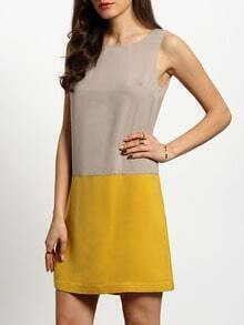 Yellow Light Grey Color Block Sleeveless Shift Dress