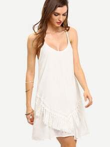 White Fringe Front Spaghetti Strap Shift Dress