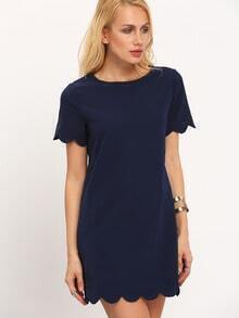 Navy Scallop Hem Casual Shift Dress
