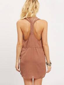 Coffee Pockets Self-tie Waist Braided Back Chiffon Dress