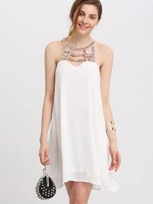 White Bead Front Strap Back Shift Dress