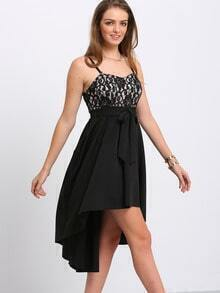 Black Pleated Spaghetti Strap High Low Dress