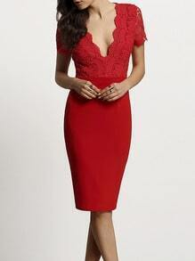 Red Scallop V Neck Lace  Splicing Backless Sheath Dress