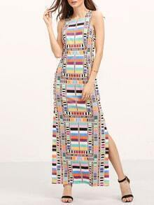 Multicolor Geometric Cut Out Backless Split Maxi Dress