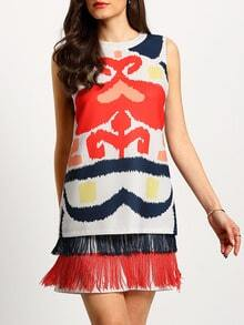 Multicolor Print Sleeveless Fringe Hem Shift Dress