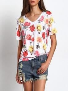 White V Neck Floral Print Casual T-shirt