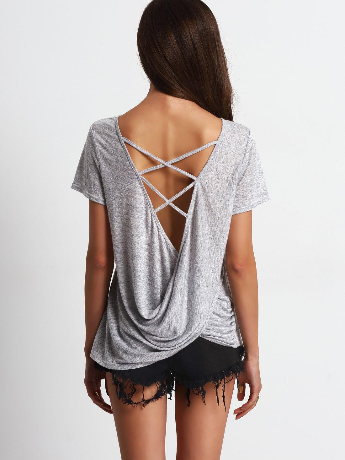 Фото Criss Cross Drapped Back Casual T-shirt. Купить с доставкой