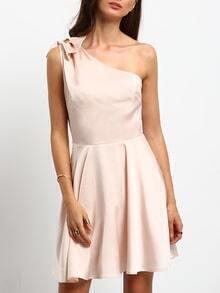 Pink Bow One Shoulder Slim Skater Dress