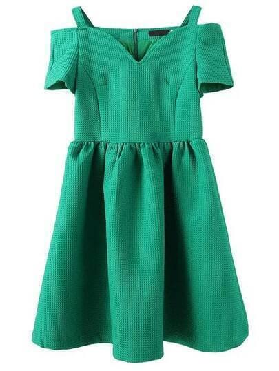 Green Cold Shoulder Short Sleeve Dress