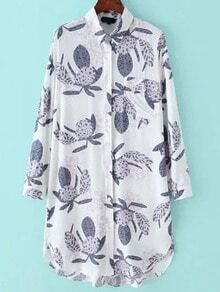 Grey White Lapel Leaves Print Pocket Shirt Dress