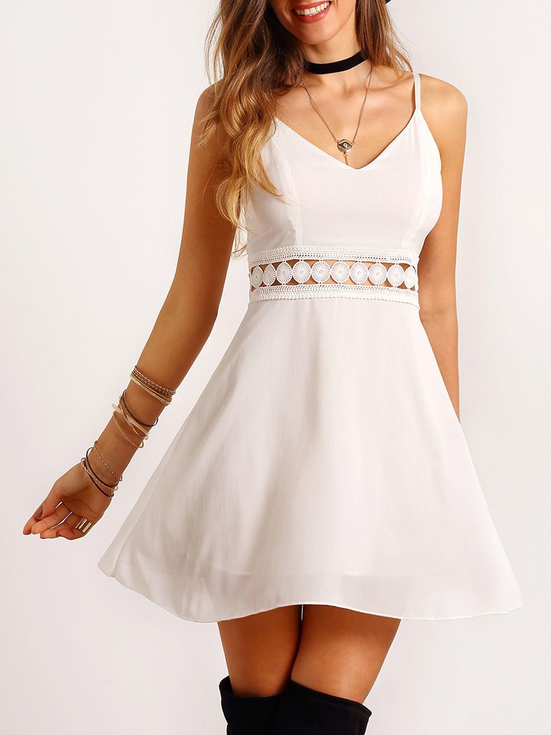 Купить Белое платье с кружевной вставкой, Mary, SheIn