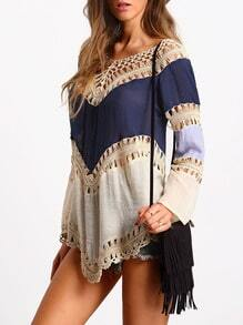 Colour-block Hollow Crochet Loose Top