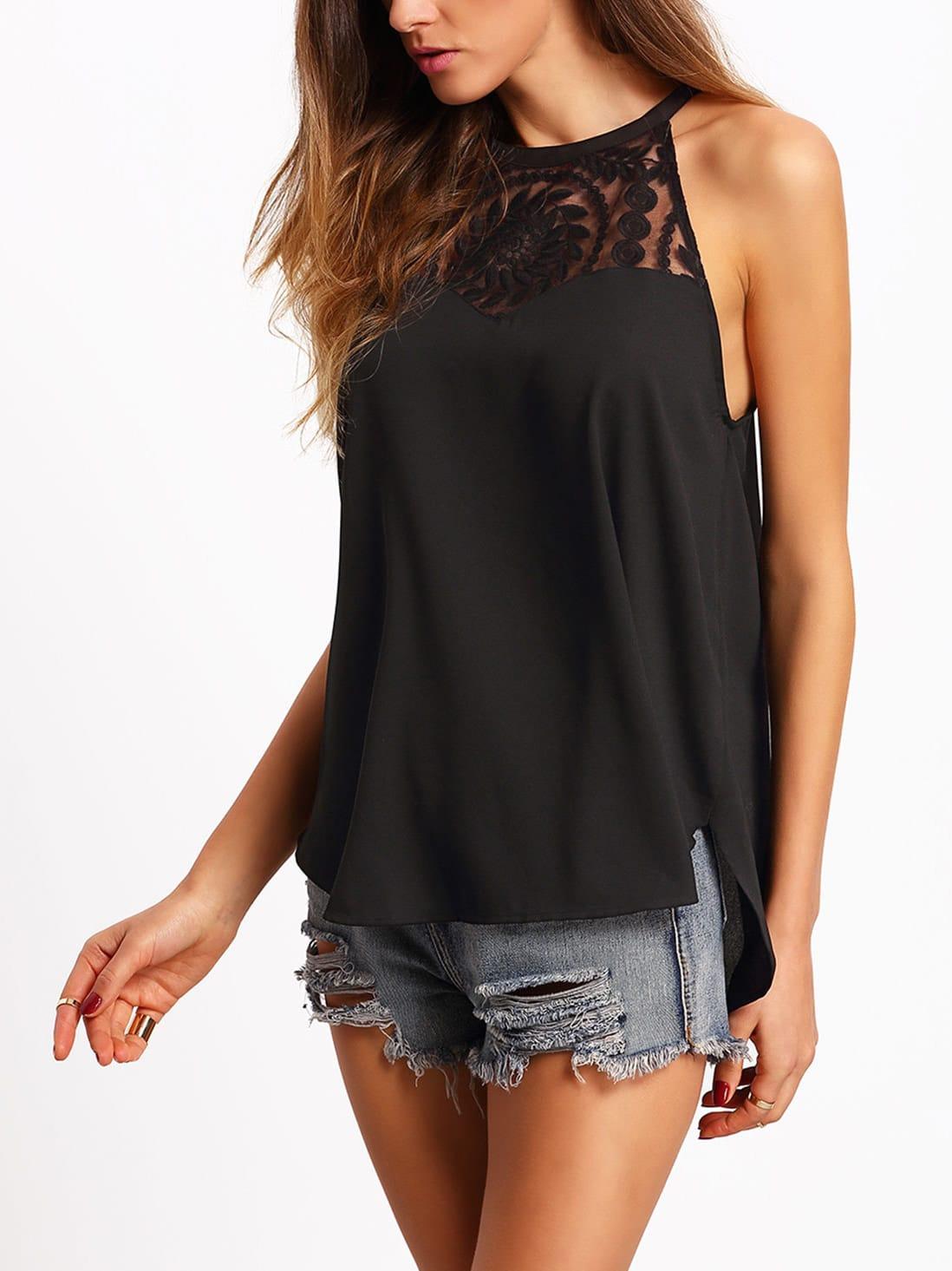 Black Spaghetti Strap Lace Chiffon Cami Top vest160229050