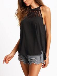 Contrast Lace Chiffon Cami Top