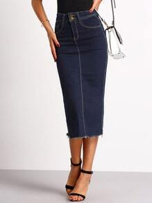 High Split Back Frayed Hem Denim Skirt