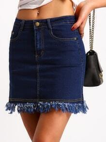 Navy Pockets Tassel Denim Skirt