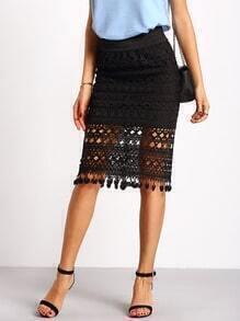 Black Hollow Tassel Skirt