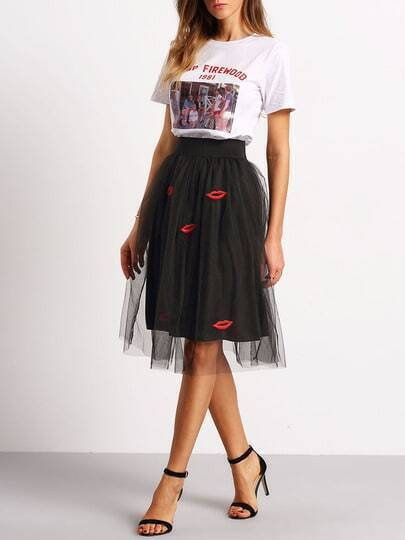 Black Lips Embroidered Sheer Mesh Skirt