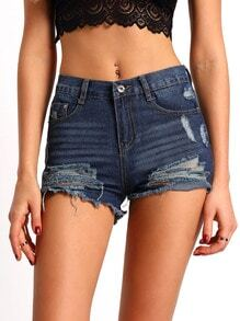 Blue Ripped Denim Slim Shorts