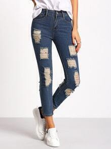Navy Ripped Pockets Denim Pant