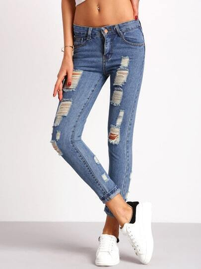 Blue Pockets Ripped Slim Denim Pant