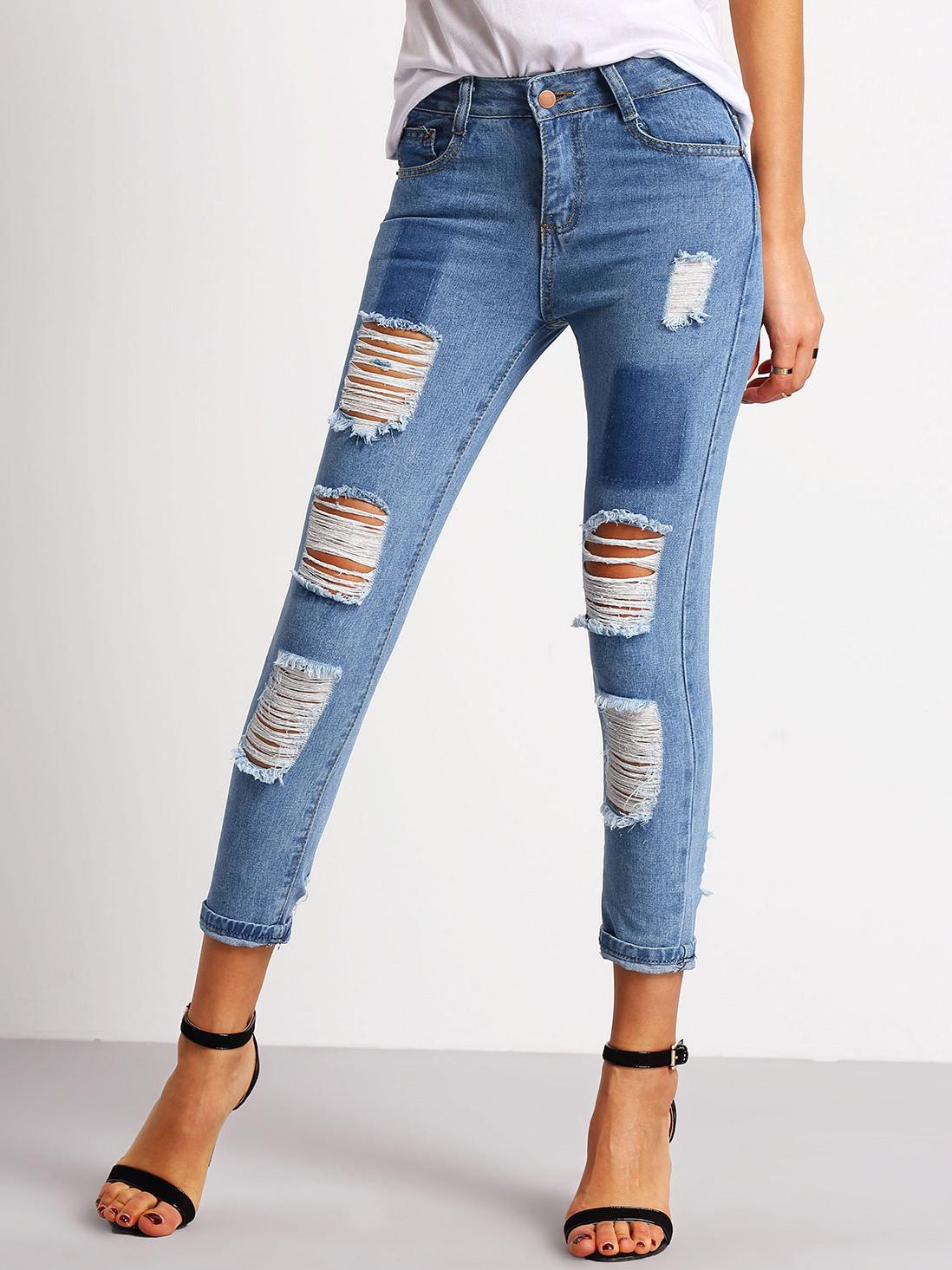 Фото Distressed Capri Jeans. Купить с доставкой