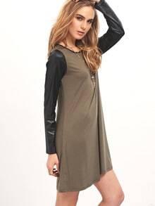 Olive PU Sleeve Round Neck Shift Dress