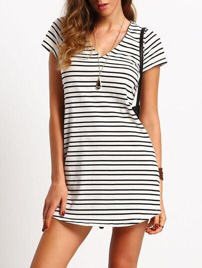 Breton Striped Cap Sleeve V Neck T-shirt Dress