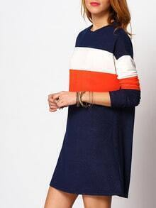 Royal Blue Color Block Casual T-shirt Dress
