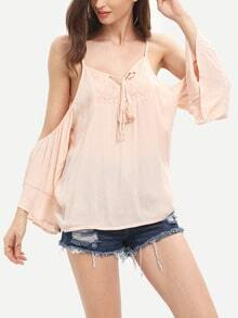 Pink Open Shouler Bell Sleeve Blouse