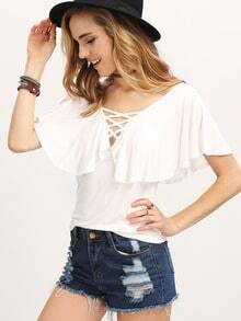 White Criss Cross Front Circular Cap Sleeve Blouse