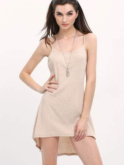 Apricot Dip Hem Backless Slip Dress