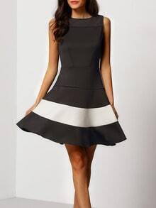 Grey Sleeveless White Panel Flare Dress